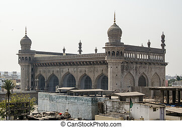 Mecca Masjid Mosque, Hyderabad - View from Charminar tower...