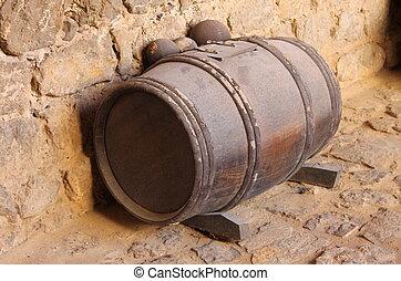 Gunpowder barrel with a clipping path