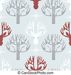 Deer and trees print - Image of deer and trees print in...