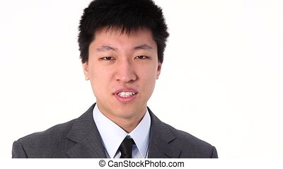 Happy young Asian businessman