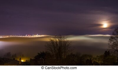 Foggy Night Vancouver Downtown - Foggy Night Covering...