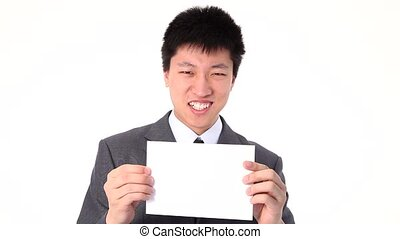 Young Asian businessman holding up