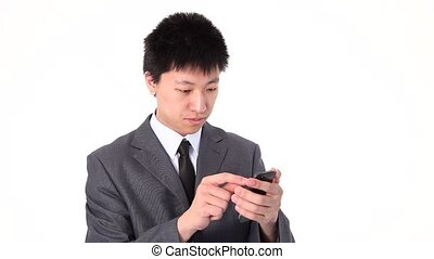 Asian young businessman using a sma