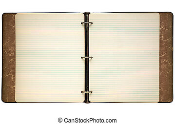 Old journal lined notepaper isolated on white. - Old journal...