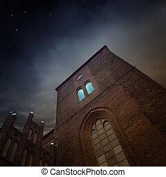 church - medieval church in the dark