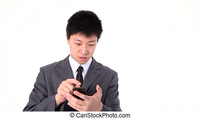 Asian young businessman talking