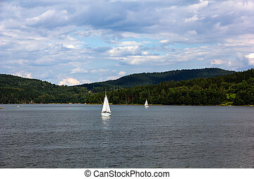 Lipno lake, Czech Republic. - Sailing yachts on Lipno lake,...