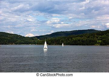 Lipno lake, Czech Republic. - Sailing yachts on Lipno lake,...