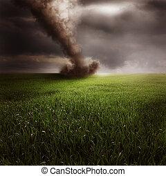 Tornado in green field - Scenic view of tornado in green...
