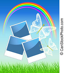 Page layout photo album with  rainbow and butterflies