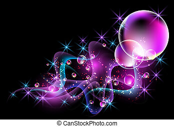 Smoke and bubbles - Glowing background with smoke and...