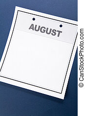 August - Blank Calendar, August, with blue background