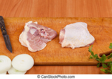 chicken thighs - Cooking chicken thighs with a chop chicken...