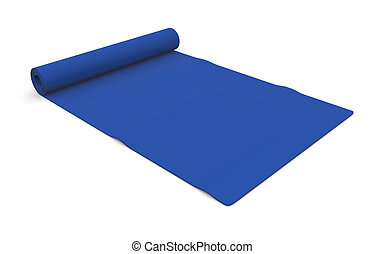 fitness mat - one blue fitness mat on white (3d render)