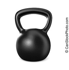 kettlebell - one black kettlebell on white (3d render)