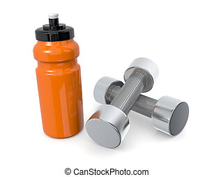 dumbbell - one couple of dumbbells with a water bottle (3d...