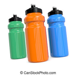 waterbottles - three reusable water bottles on white 3d...