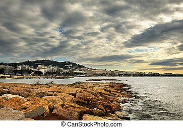 Cloudy morning in Cannes - The city of Cannes in the French...
