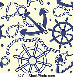 Seamless pattern with anchors - Seamless pattern with white...