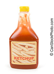 Ketchup bottle with white background
