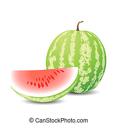 watermelon - vector yummy watermelon on white background