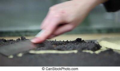 Baker filling in Poppy-Seed-Stollen