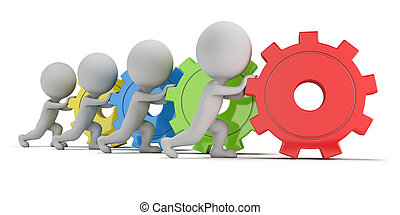 3d small people - team with gears - 3d small people - team...