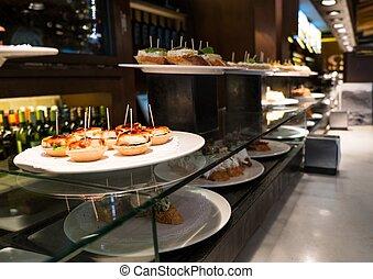 tradicional, Basque, pinchos, placa, restaurante