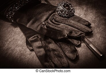 Gloves with luxury ring and cigarette holder