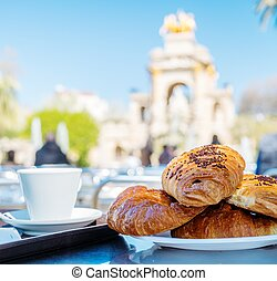 Tasty croissants with cup of coffee against famous fountain...