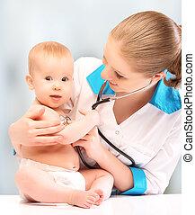 csecsemő, Orvos, gyermekorvos, Orvos, hallgatózik,...