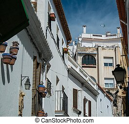 Narrow streets in town of Sitges, Spain