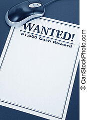 online searching - computer mouse and wanted poster, online...