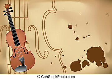 Vector illustration of violin on brown background