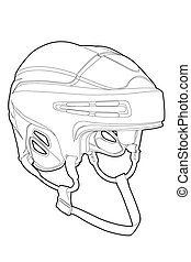 Hockey mask - Outline hockey mask on white background...