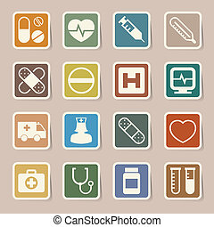 Medical sticker icons set, . Illustration eps 10