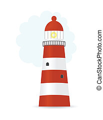 Vector illustration of striped lighthouse, oceanscape
