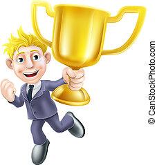 negócio, homem, vencedor, troféu