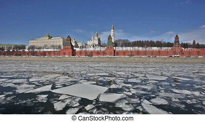 Moscow Kremlin and Moskva River in the sunny spring afternoon.