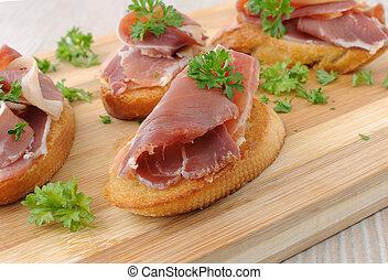 francés, tostada, ham-cured