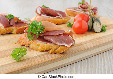 Rebanadas, bread, español, Serrano, hamon