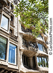 BARCELONA - April 13: The facade of the house Casa Battlo...