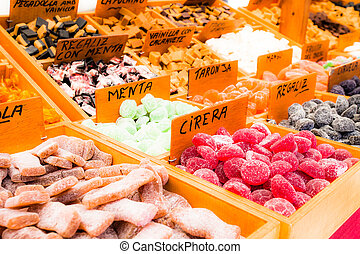 Sweets at the market in Barcelona