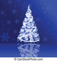 Christmas card in blue colors