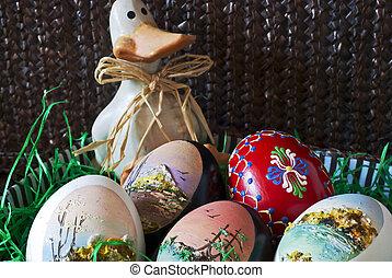 kosz, jaja, Wielkanoc, Kaczka