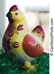 Wooden easter hen with small chicken