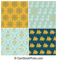 Set of Marine backgrounds - for your design, scrapbook - in vector