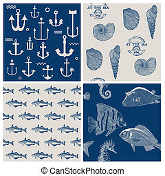 Fish and Marine Background Set - for scrapbook or design - in vector