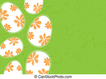 Easter background (some eggs on green)