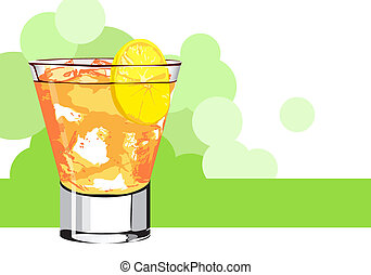 Orange juice - fresh orange coctail on white background